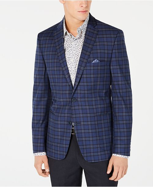 Bar III Men's Slim-Fit Stretch Dark Blue Plaid Sport Coat, Created for Macy's