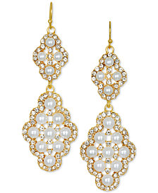Jewel Badgley Mischka Gold-Tone Crystal & Imitation Pearl Double Drop Earrings