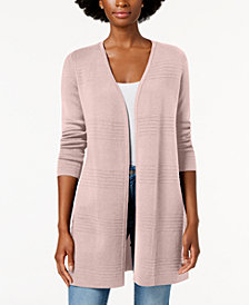 Charter Club Ribbed-Knit Open-Front Cardigan, Created for Macy's