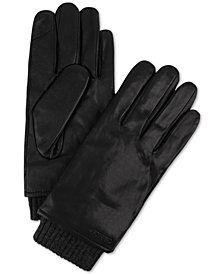 Calvin Klein Men's Ribbed-Insert Leather Gloves