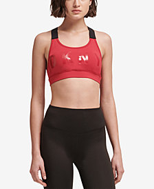DKNY Sport Logo Racerback Low-Impact Sports Bra, Created for Macy's
