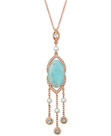 "Sky Aquaprase (16 x 10mm), White Topaz (1/2 ct. t.w.) & Cultured Freshwater Pearl (3mm) 18"" Pendant Necklace in 14k Rose Gold, Created for Macy's"