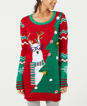 Hooked Up by Iot Juniors' Embellished Llama Tunic Sweater - Christmas Red