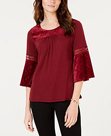 NY Collection Petite Crochet-Trim Velvet-Burnout Top