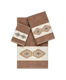 Linum Home Gianna 3-Pc. Embroidered Turkish Cotton Towel Set