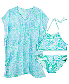 Summer Crush Big Girls Printed Pom-Pom-Trim Cover Up & Printed Strappy Bikini