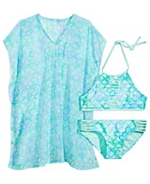 a44c259a793d4 Summer Crush Big Girls Printed Pom-Pom-Trim Cover Up   Printed Strappy  Bikini