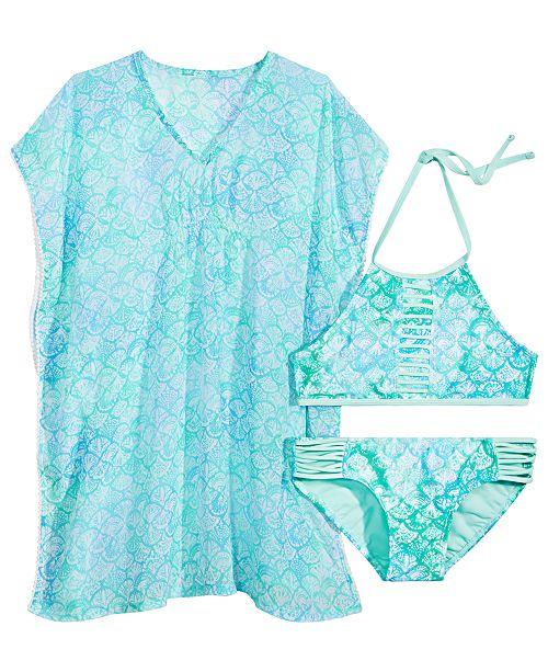 4acd5897c21c3 Summer Crush Big Girls Printed Pom-Pom-Trim Cover Up   Printed Strappy  Bikini
