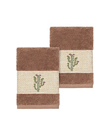 Linum Home Mila 2-Pc. Embroidered Turkish Cotton Washcloth Set