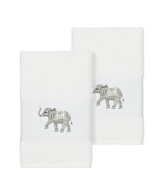 Linum Home Quinn 2-Pc. Embroidered Turkish Cotton Hand Towel Set