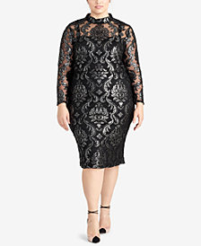 RACHEL Rachel Roy Trendy Plus Size Metallic Jacquard Dress