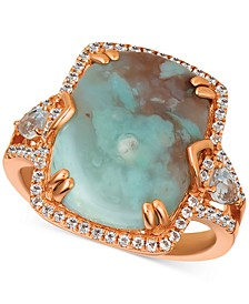 Sky Aquaprase (16 x 12mm) & White Topaz (5/8 ct. t.w.) Ring in 14k Rose Gold, Created for Macy's