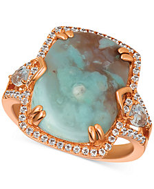 Le Vian® Sky Aquaprase (16 x 12mm) & White Topaz (5/8 ct. t.w.) Ring in 14k Rose Gold, Created for Macy's