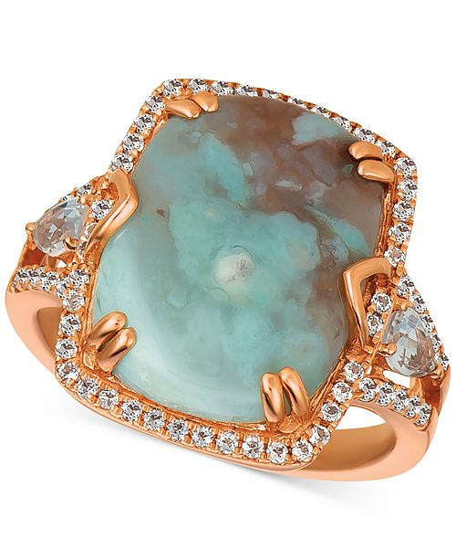 Le Vian Sky Aquaprase (16 x 12mm) & White Topaz (5/8 ct. t.w.) Ring in 14k Rose Gold, Created for Macy's