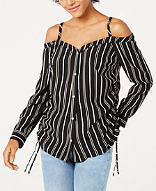 Bar III Striped Cold-Shoulder Blouse, Created for Macy's