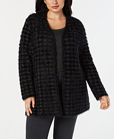 Alfani Plus Size Eyelash-Yarn Printed Cardigan Sweater, Created for Macy's