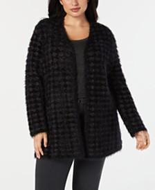 786b709c917 Alfani Plus Size Eyelash-Yarn Printed Cardigan Sweater
