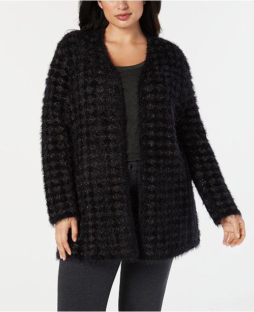 b8baadf98 Alfani Plus Size Eyelash-Yarn Printed Cardigan Sweater