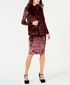 MICHAEL Michael Kors Faux-Fur Vest & Crushed Velvet Dress