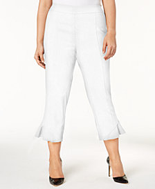 I.N.C. Plus Size Ruffled Cropped Pants, Created for Macy's