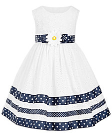 Blueberi Boulevard Baby Girls Ribbon-Trim Eyelet Dress