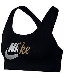 Nike Metallic-Logo Racerback Medium-Support Compression Sports Bra