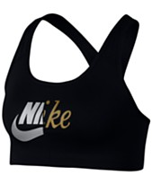 9d3201582a Nike Metallic-Logo Racerback Medium-Support Compression Sports Bra