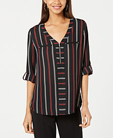 BCX Juniors' Striped Utility Top