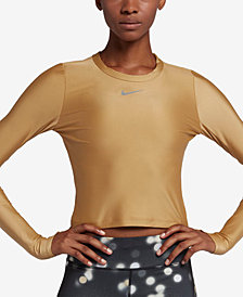 Nike Speed Metallic Cropped Running Top