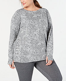 Ideology Plus Size Lace-Up Sides Top, Created for Macy's