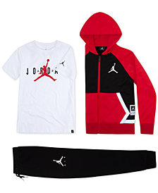 Jordan Little Boys Diamond Fleece Zip-Up Hoodie, Jumpman-Print T-Shirt & Jogger Pants