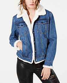 GUESS Faux-Fur Lined Denim Jacket