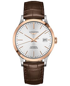 Longines Men's Swiss Automatic Record Brown Alligator Leather Strap Watch 40mm