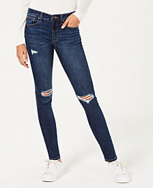 Celebrity Pink Juniors' Ripped Dark Wash Skinny Jeans
