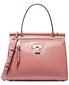 MICHAEL Michael Kors Jasmine Polished Leather Top Handle Satchel