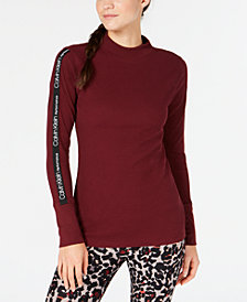 Calvin Klein Performance Mock-Neck Logo-Stripe Top