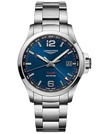 Men's Swiss Conquest V.H.P. Stainless Steel Bracelet Watch 43mm