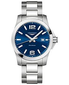 Men's Swiss Conquest Stainless Steel Bracelet Watch 41mm