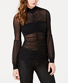 GUESS Camilo Ruched Sheer Top