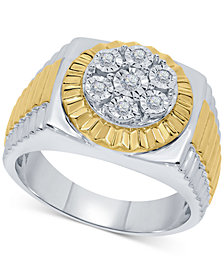 Men's Diamond Two-Tone Cluster Ring (1/5 ct. t.w.) in Sterling Silver & 18k Gold-Plate