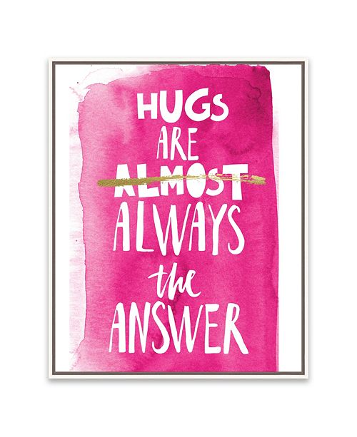 """Artissimo Designs Hugs Are Almost Pink Framed Embellished Canvas Art - 16.875"""" W x 20.875"""" H x 2"""" D"""