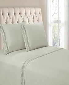 Hudson & Main Arrow Pleated Hem 4 Pieces Full Sheet Set