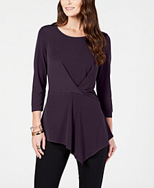 Alfani Petite Twisted Asymmetrical Top, Created for Macy's