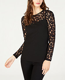 MICHAEL Michael Kors Lace-Yoke Top, in Regular and Petite Sizes