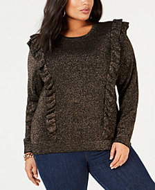 MICHAEL Michael Kors Plus Size Ruffled Metallic Sweater