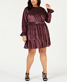 MICHAEL Michael Kors Plus Size Velvet Flounce Dress