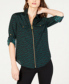 MICHAEL Michael Kors Zip-Up Roll-Tab Printed Top, in Regular and Petite Sizes