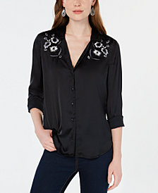 Lucky Brand Embroidered Yoke Satin Top, Created for Macy's