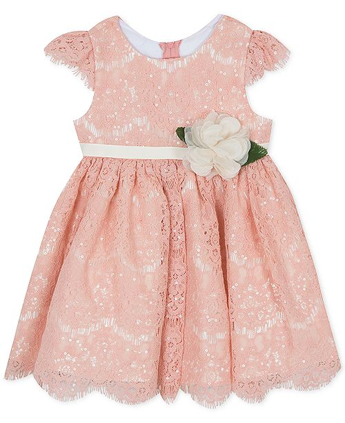 Rare Editions Baby Girls Sequin Lace Fit & Flare Dress