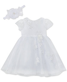 Rare Editions Baby Girls Christening Dress & Headband
